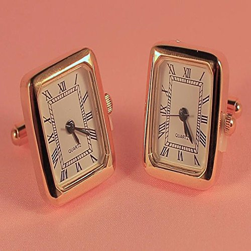 Gold Functional Clock Watch Quartz Square Cufflinks