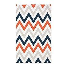 CafePress - Orange, Gray, Navy Chevrons 3'X5' - Decorative Area Rug, Fabric Throw Rug