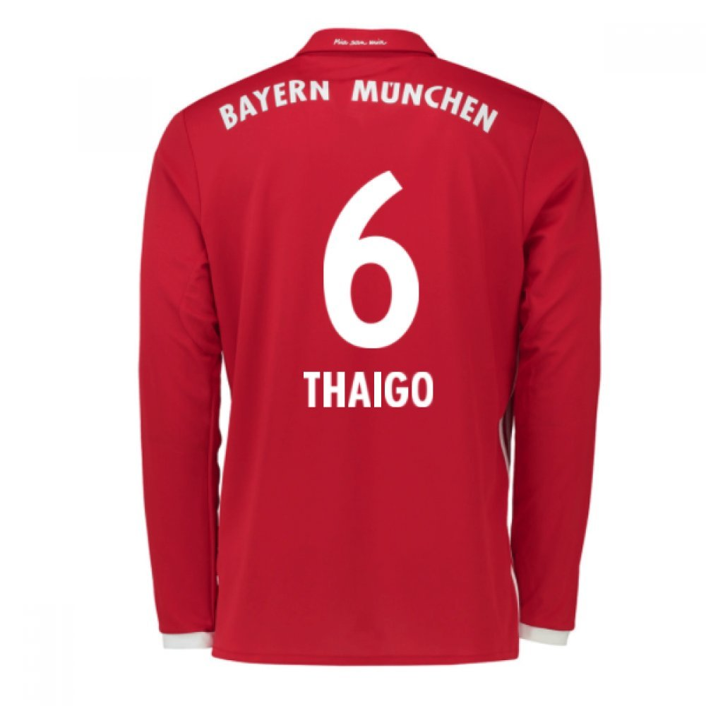 2016-17 Bayern Munich Long Sleeve Home Football Soccer T-Shirt Trikot (Thaigo Alcantara 6) - Kids