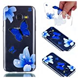 Cover Case for Samsung Galaxy A3 2017, CrazyLemon Transparent Soft TPU Silicone Gel Clear Ultra Thin Varnish Technology Embossed 3D Creative Pattern Design Scratch Resistant Shock Proof Rubber Skin Shell Protective Case Cover for Samsung Galaxy A3 2017 - Blue Butterfly
