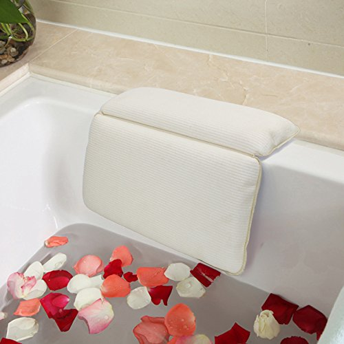 ASFLY Bath Pillows Large Suckers Non-Slip Spa Bath Pillow Featuring Powerful Gripping Technology Fits Any Size Tub