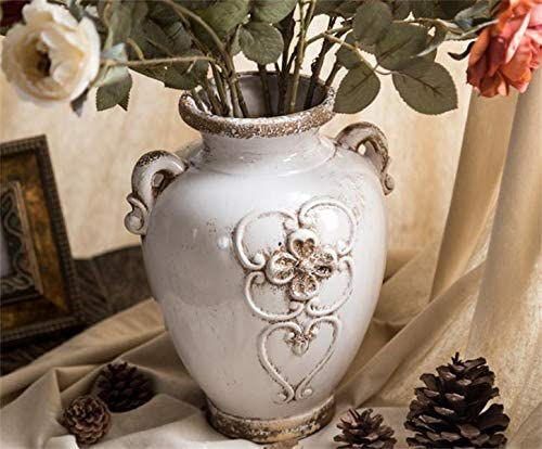 Soyizom Unique Shabby Chic Designs White Rustic Ceramic Vases Farmhouse Decorative Floral Vase Flower Arranging Pottery Vase Vintage Planter Pot for Tabletop, Kitchen, Office,Living Room Decoration