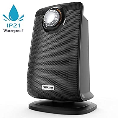OPOLAR Space Ceramic Bathroom Heater with IP21 Water-Proof for Home & Office, Fast Heating & Auto Oscillation, Portable, Adjustable Thermostat, 1500W, Black