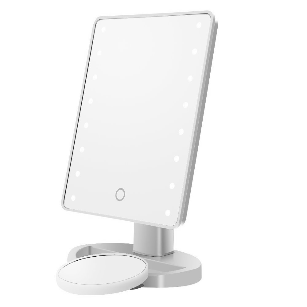 Cosprof LED Lighted Makeup Mirror,Touch Screen 16 LED Lighted Vanity Mirrors with Removable 10x Magnifying Mirrors,180 & 360 Degree Free Rotation Table Countertop Cosmetic Bathroom Mirror