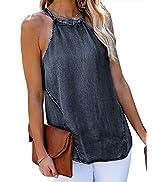 Nirovien Womens Sexy Sleeveless Denim Tank Tops High Neck Halter Cami Shirts Casual Loose Tunic B...