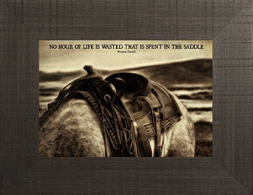 Life in the Saddle By Todd Thunstedt 20x26 Churchill Cowgirl Cowboy Saying Verse Western Bridle Spurs Calf Roping Rodeo Queen Barn Quarter Horse Horseshoe Saddle Framed Art Print Wall Décor - Preakness Wayne