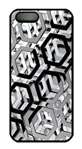 3d hexagons PC Case Cover For Iphone 6 Plus 5.5 inch Cover Black
