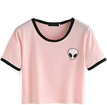 Crop Top Blusa, Tukistore Mujer Camiseta de Manga Corta Divertido ...