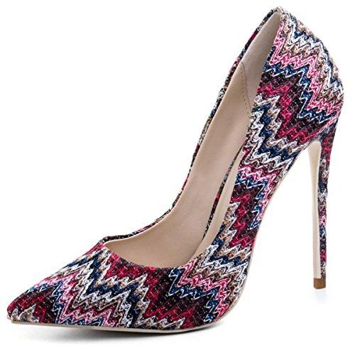 NVXIE Bleu Chaussures Pied Pompes Femmes Tribunal Stylet de Pointu Haute Talon Doigt Robe Fête EUR37UK455 RED HrHAwq5P