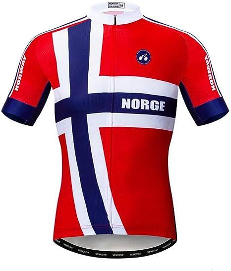 Maillots De Ciclismo para Hombre,Jersey De Ciclismo Norge Pro Team Ropa De Ciclismo Tejido De Secado Rápido, Bicicleta De Carreras Camisa Roja Bicicleta De Ciclismo Transpirable: Amazon.es: Deportes y aire libre
