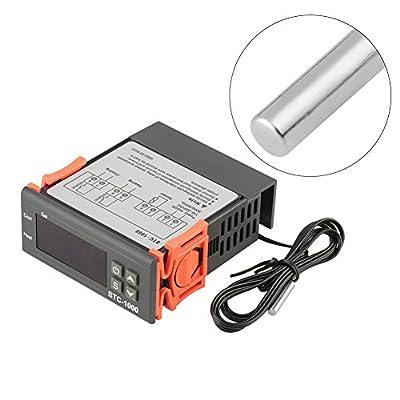 AC 110V-220V Fahrenheit/Centigrade Digital Temperature Controller Thermostat Heat/Cool Modes with Sensor 2 Relays