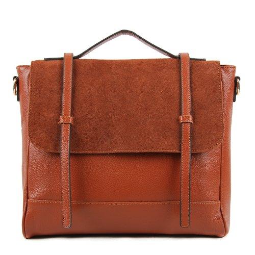 100 W8838 Leather Satchel Tan Bag With Suede Genuine Flap B500xzrqw