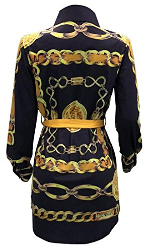 Black Cromoncent Sleeve Down Botton Tunic Clubwear Printed Womens Long Mini Dress TwZ1WnqvT