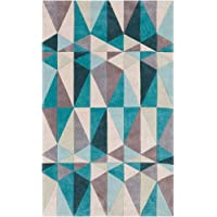 Surya Cosmopolitan COS-9169 Transitional Hand Tufted 100% Polyester Teal Blue 5 x 8 Geometric Area Rug