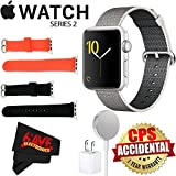 Apple Watch Series 2 42mm Smartwatch (Silver Aluminum Case, Pearl Woven Nylon Band) + Watch Band Black 42mm + Watch Band Red 42mm + MicroFiber Cloth Bundle