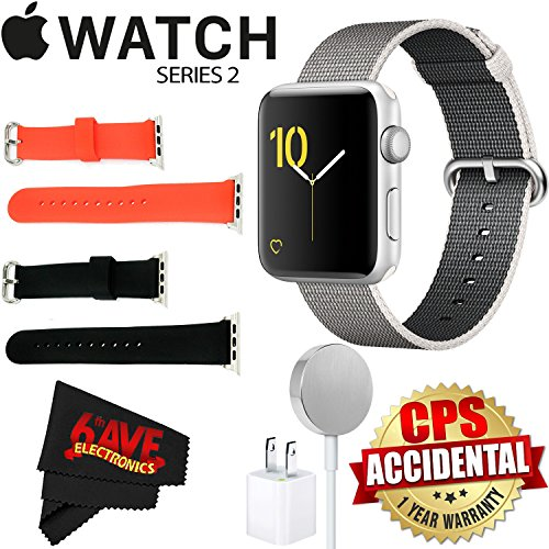 Apple Watch Series 2 42mm Smartwatch (Silver Aluminum Case, Pearl Woven Nylon Band) + Watch Band Black 42mm + Watch Band Red 42mm + MicroFiber Cloth Bundle by 6Ave