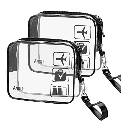 - 2pcs/Pack ANRUI Toiletry Bag with Detachable Strap, TSA Approved Carry On Airport Airline Compliant Bag Quart Sized 3-1-1 Kit Travel Luggage Pouch (Black)