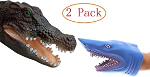 Meifen Shark Hand Puppet Toys, Crocodile Hand Puppet,Soft Rubber Shark Puppets Role Play Toy for Kids, Realistic Crocodile Head Shark Head 7 inch (2 Pack)