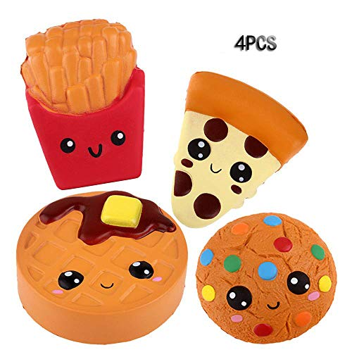 Anboor Squishies Emoji Pizza,Cookies,Chocolate Cake and French Fries Kawaii Scented Soft Slow Rising Simulation Simulation Food Squishies Stress Relief Kids Toy Gift Collection Decorative Props,4 Pcs