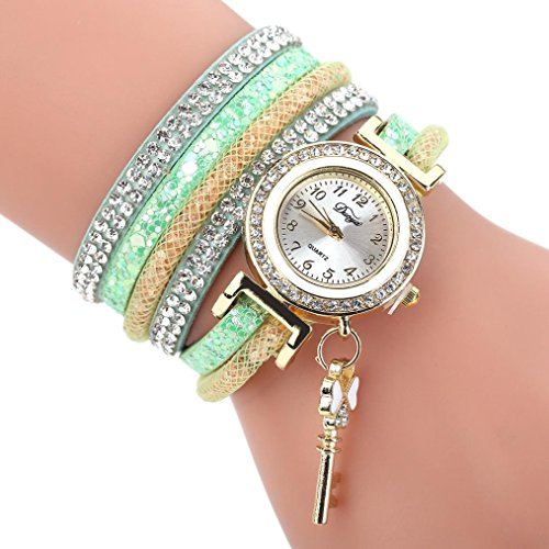 Multi Gemstone Watch (AutumnFall Wrist Watch, New Women Girls Quartz Bracelet Watches Flower Gemstone Wristwatch,Style 2 (Green))