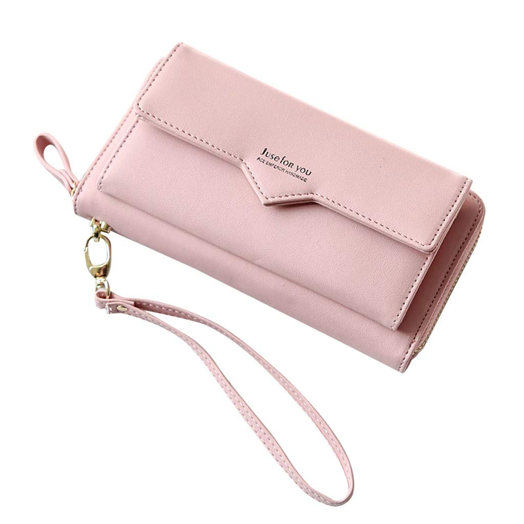 Clearance! Women Simple Zipper Long Purse Wallet Clutch Large Capacity Ladies Purses Card Holder Phone Bags (Pink, 20x3x10cm)