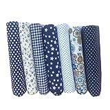 Amosfun Paquetes de Tela de algodón Cuartos gordos Florales Telas precortadas para acolchar Costura Elaboración de Ropa de Cama DIY Patchwork 7 unids