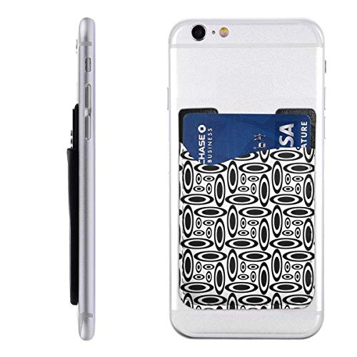 Black Ellipse White Cell Phone Pockets Pouch Card Holder Wallet for Back of Phone Most of Smartphones iPhone Android Samsung Galaxy ()