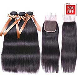 Allrun Hair Straight Hair Bundles with Closure(20 22 24+18 Closure)100% Brazilian Straight Virgin Hair 3 Bundles with Lace Closure Free Part Human Hair Extensions Natural Black Color