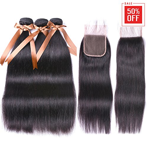 Allrun Hair Straight Hair Bundles with Closure(20 22 24+18 Closure)100% Brazilian Straight Virgin Hair 3 Bundles with Lace Closure Free Part Human Hair Extensions Natural Black Color ()