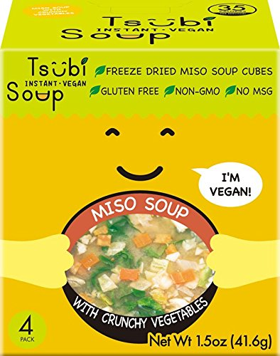 Miso Soup with Spinach, Cabbage & Carrots, Freeze Dried Instant Soup Cubes, VEGAN NON-GMO GLUTEN FREE, 6 oz Servings (Pack of 4)