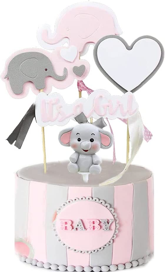 LEBERY Elephant Baby Shower Cake Topper for Girl, It's a Girl Elephant Cake Cupcake Pick, Elephant Cake Decoration for Elephant Theme Baby Shower It's a Girl Gender Reveal Little Peanut Party Supplies