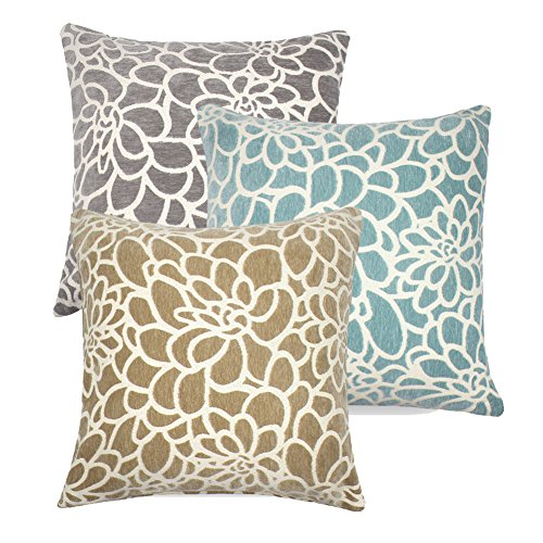 3PCS Throw Pillow Covers Coastal Cushions 100% Cotton Home Decorative 18 x 18 inch Soft Pillow Case Covers Invisible Zipper Pillow Case No Pillow Insert Furniture Cushions 02 (02-Blue-Brown-Grey) - Blue Pillow Cover