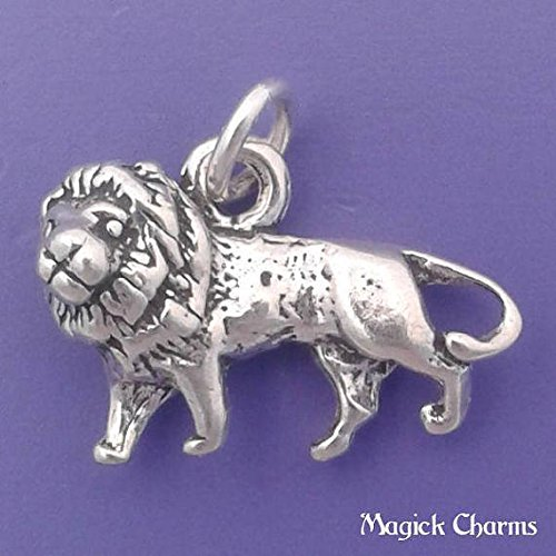 Italian Charm Lion - 925 Sterling Silver 3-D African Lion Charm Pendant Jewelry Making Supply, Pendant, Charms, Bracelet, DIY Crafting by Wholesale Charms