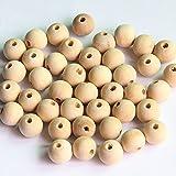 50pcs Rund Holzperlen zum Fädeln Holz Perlen Perle Beads Schmuck Basteln - 12mm, Natur