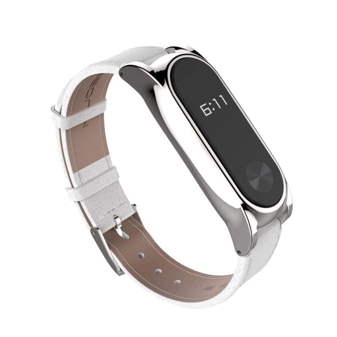 Bestow Xiaomi Miband 2 Mijoas Correa de Elegante Gadgets de Electrš®nica Pulsera de Cuero mš¢s Correa de Cuero de Gamuza con Reloj de (Rojo + Plata) (tamaño ...