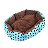 Pet Bed - SODIAL(R) Removable cushion House Bed for Pets Dog Cat S Blue, Black dots