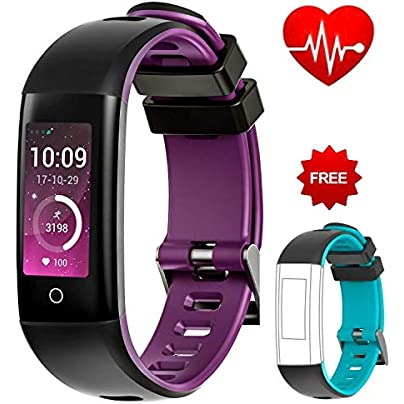 Fashion Fitness Tracker Color Display Sport Band Smart Wristband Bracelet Waterproof Activity Heart Rate Sleep Monitor Pedometer Sportband for IOS and Android Estimated Price £72.98 -