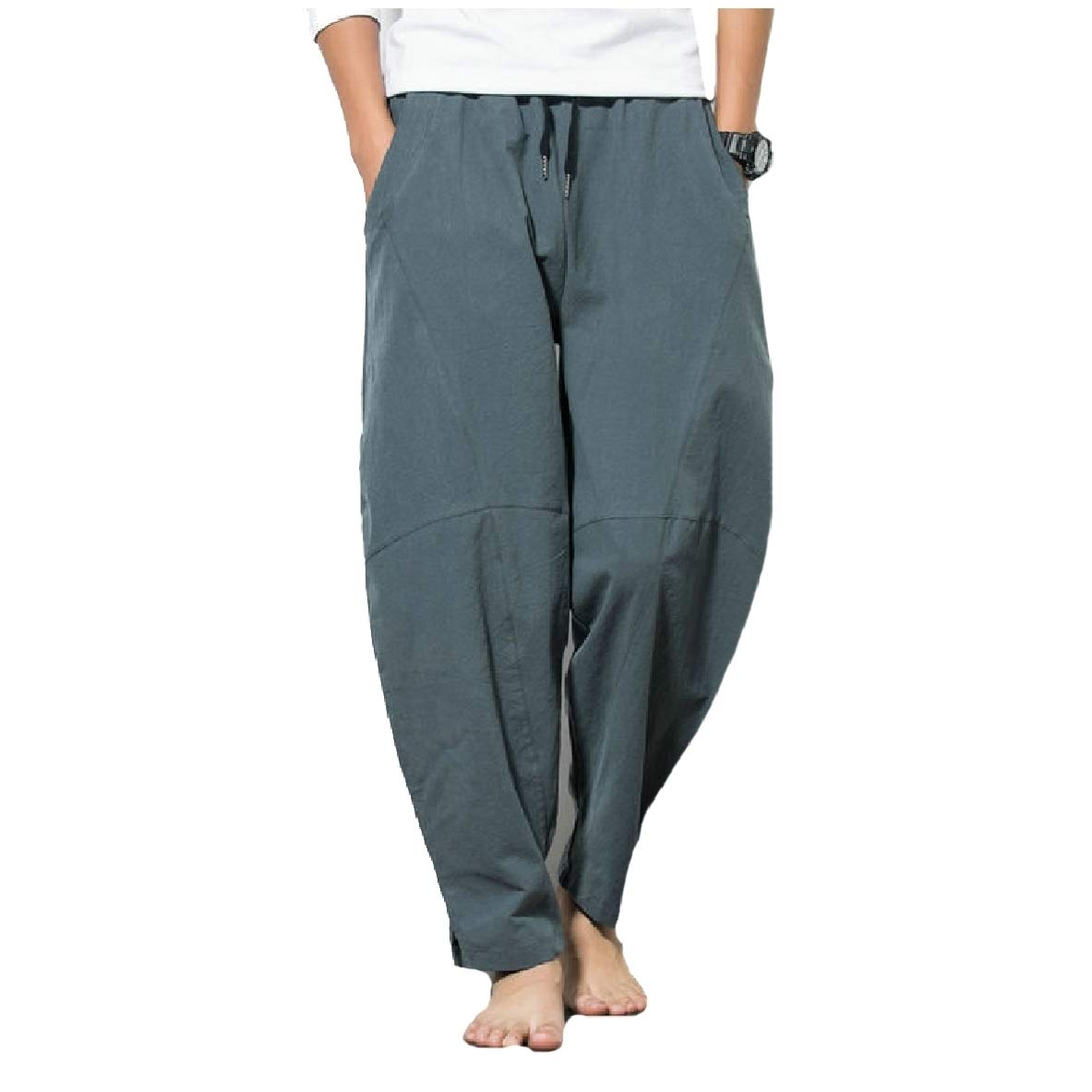 AngelSpace Mens Lightweight Relaxed Fit Patchwork Relaxed-Fit Tenths Pants