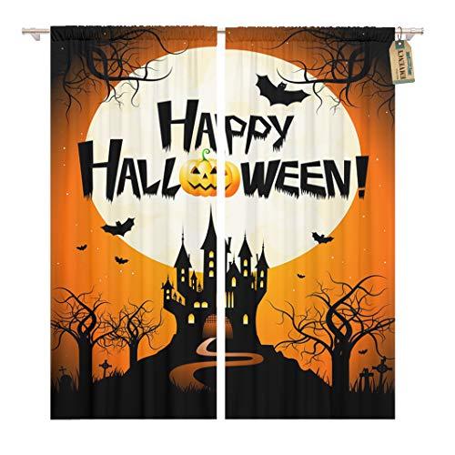 Golee Window Curtain Orange Bat Halloween Happy Branch Castle Cemetery Creepy Event Home Decor Rod Pocket Drapes 2 Panels Curtain 104 x 96 inches -