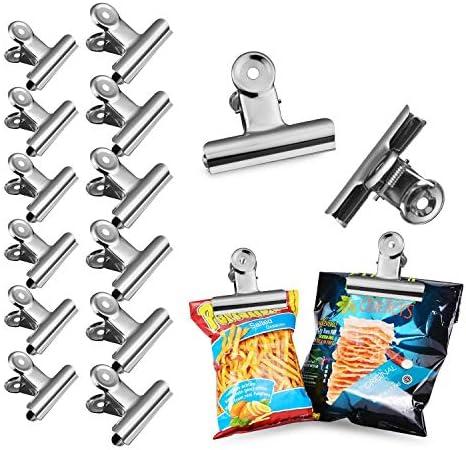 bhbuy 12 Chip Bag Clips Edelstahl Lebensmittel Clips, Air Tight Seal Grip Clips für Küche Büro, 2 Größe (6,3 cm, 5 cm)