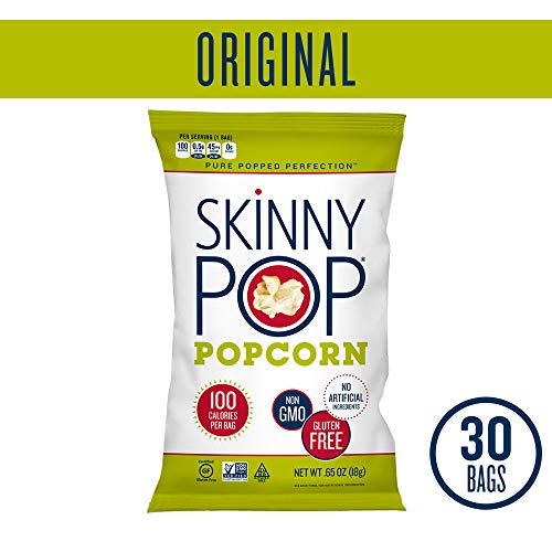 (SKINNYPOP Original Popped Popcorn, 100 Calorie Bags, Individual Bags, Gluten Free Popcorn, Non-GMO, No Artificial Ingredients, A Delicious Source of Fiber, 0.65 Ounce (Pack of 30))