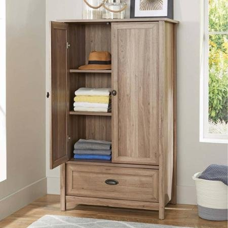 Better Homes and Gardens Lafayette Armoire with 2 Adjustable Shelves 1 Drawer w/ Metal Runners and Safety Stops Features Patented T-lock Assembly System in Oak