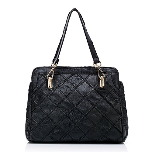 Yxlong New Leather Handbags Hit The First Layer Bag Lady Fashion Shoulder Face Hit Color Leather, Black Black