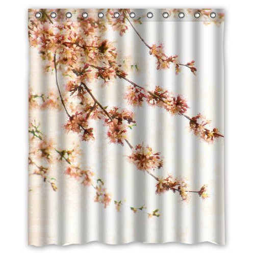 Try Everthing Generic Custom Unique Elegant Peach Blossom Design Waterproof Polyester Fabric Bathroom Shower Curtain 60inhes x 72inhes about 152cm x (Peach Blossom Shower)