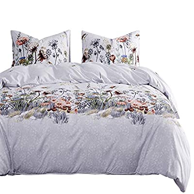 Wake In Cloud - Botanical Comforter Set, Flower Floral and Tree Leaves Pattern Printed on Light Gray Grey, Soft Microfiber Bedding (3pcs, Queen Size) - 【Design】Botanical flower floral and tree leaves pattern print on light gray. Simple modern gift idea for teens, boys, girls, men or women. 【Set】1 comforter 90x90 inches (queen size), 2 pillow cases 20x26 inches. 【Material】100% soft microfiber, durable, hypoallergenic, wrinkle-resistant, fade-resistant and machine washable. - comforter-sets, bedroom-sheets-comforters, bedroom - 51bwzxXEA7L. SS400  -