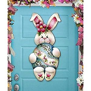 Spring Wreath - Easter Bunny Hugs Wooden Door Hanger, Wall Art by Jamie Mill Price #8457602H 85