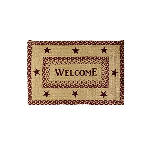 Classic Country Primitive Flooring - Burgundy Tan Jute Red Welcome Rug, 1'8