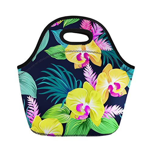 Semtomn Neoprene Lunch Tote Bag Orchids on Black Yellow Bright Green Leaves Palms Ginger Reusable Cooler Bags Insulated Thermal Picnic Handbag for Travel,School,Outdoors, Work