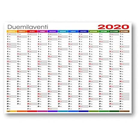Calendario Festivita Germania 2020.Calendario Da Muro 2020 Colors Planning Annuale 87x62 170