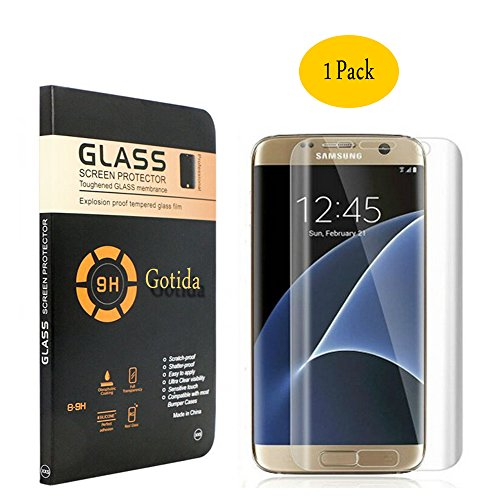 Galaxy S7 edge Screen Protector,Galaxy S7 edge Glass Screen Protector,Gotida Galaxy S7 edge Full Coverage HD Clear Tempered Glass Screen Protector for Galaxy S7 edge